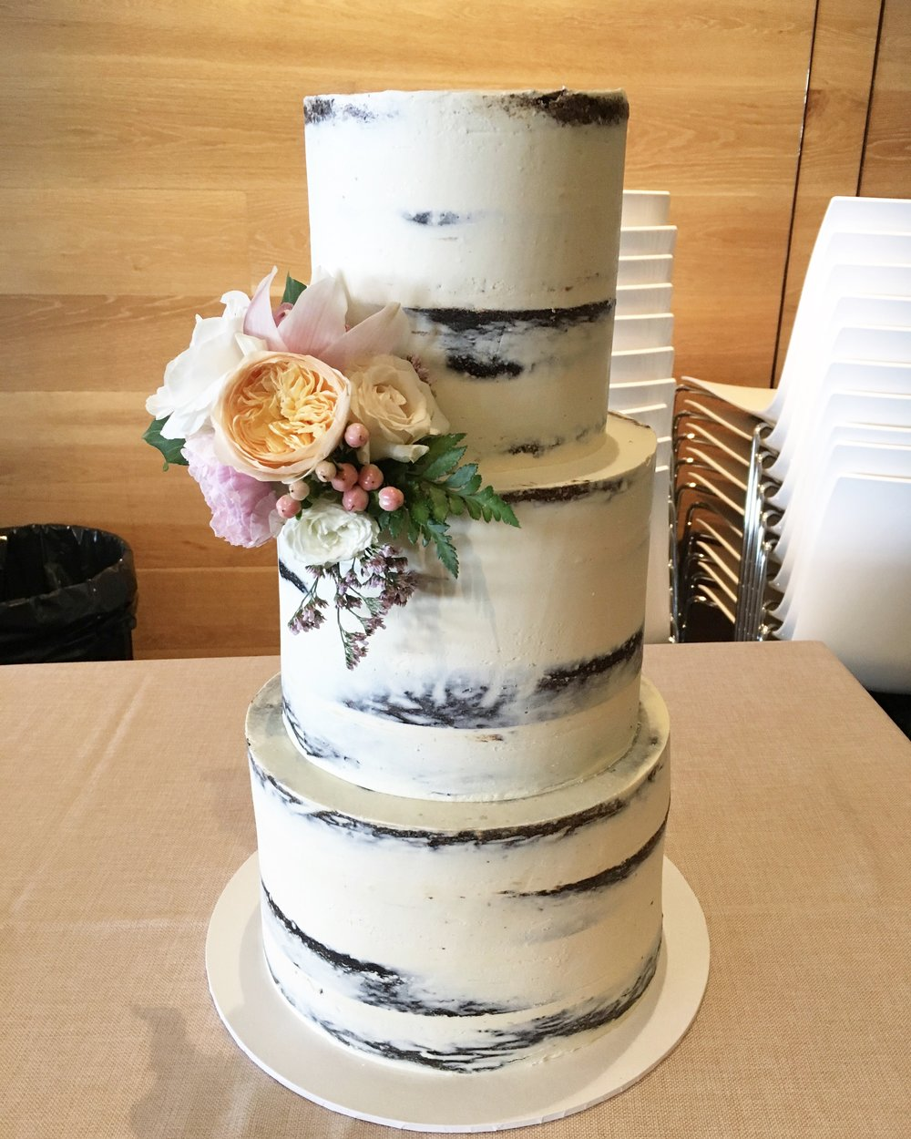 Naked Cake with Bright Flowers