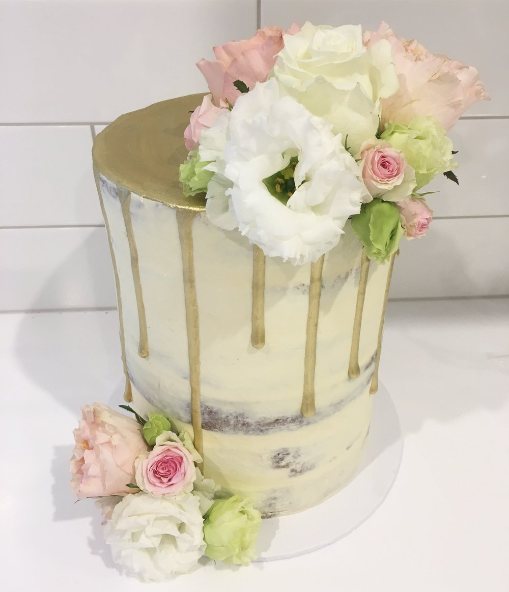 Naked Cake with Gold Drip and Flowers