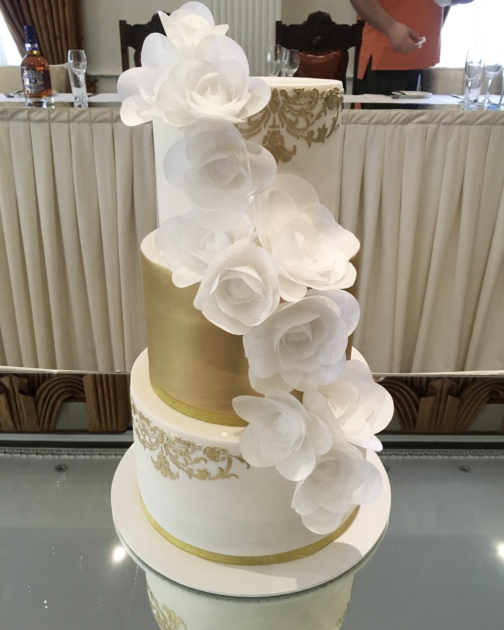 Gold Wedding Cake with Wafer Flowers