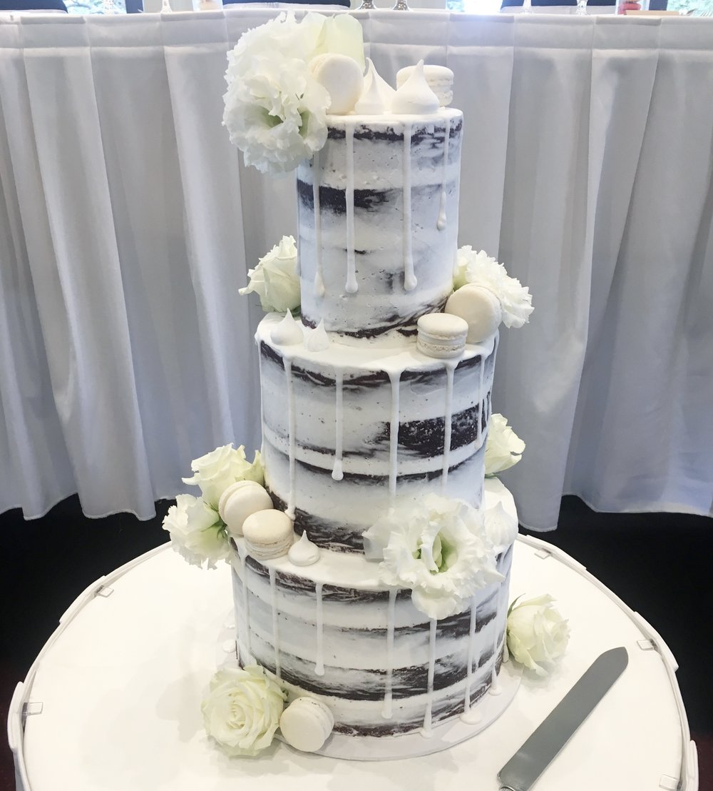 Chocolate Naked Cake with White Drip