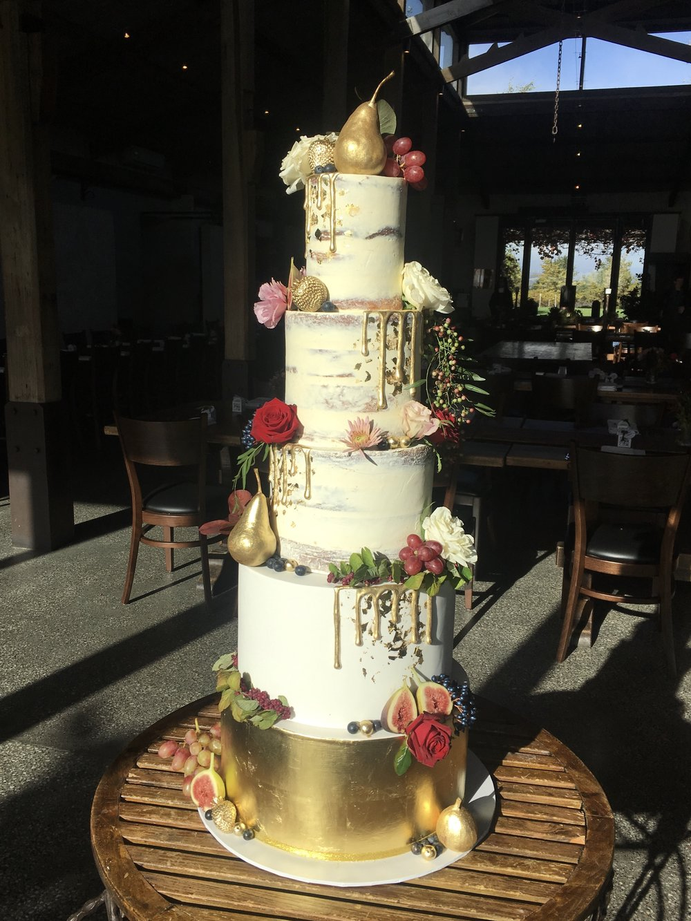 Naked and Gold Leaf Wedding Cake