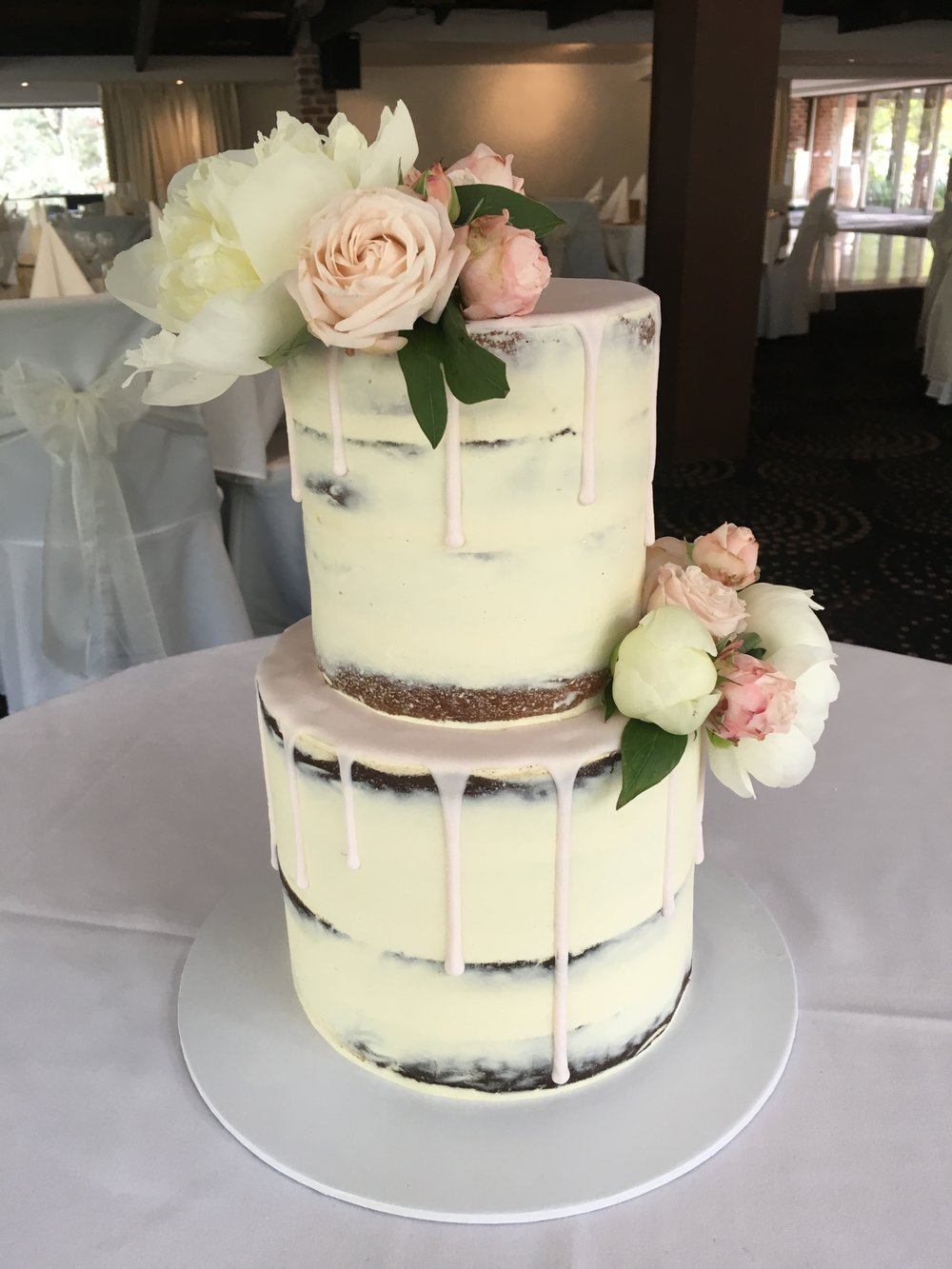 Naked Cake with Pink Drip