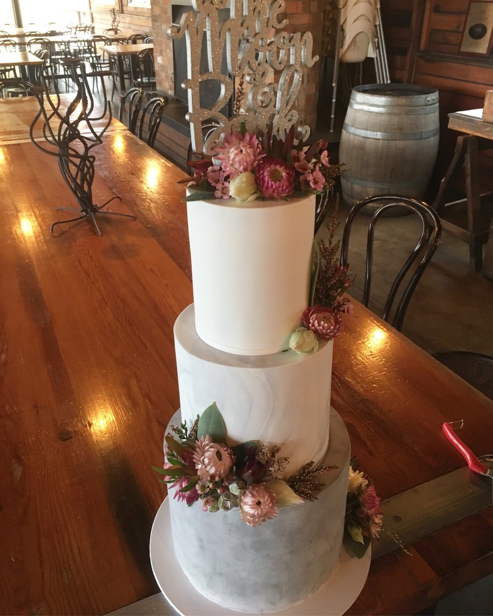 Concrete and Marble Fondant Wedding Cake