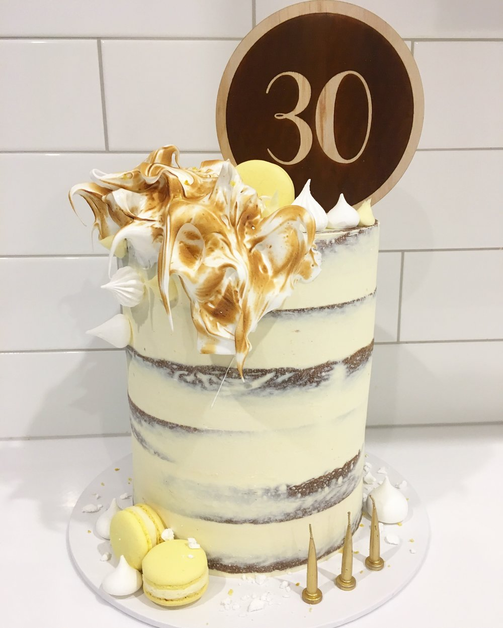 Naked Cake with Scorched Meringue