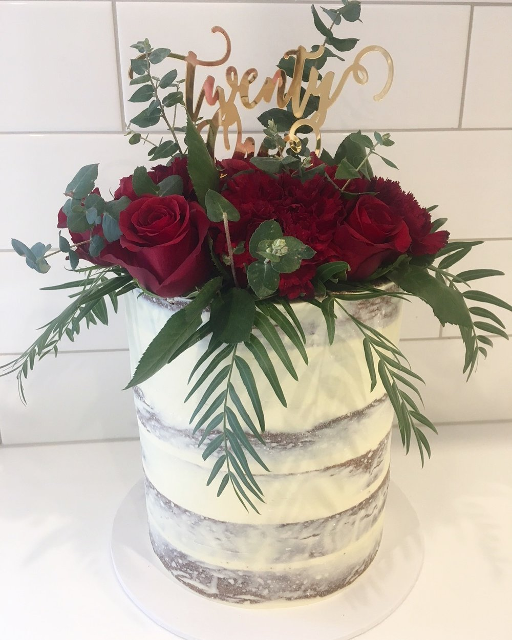 Naked Cake with Red Roses