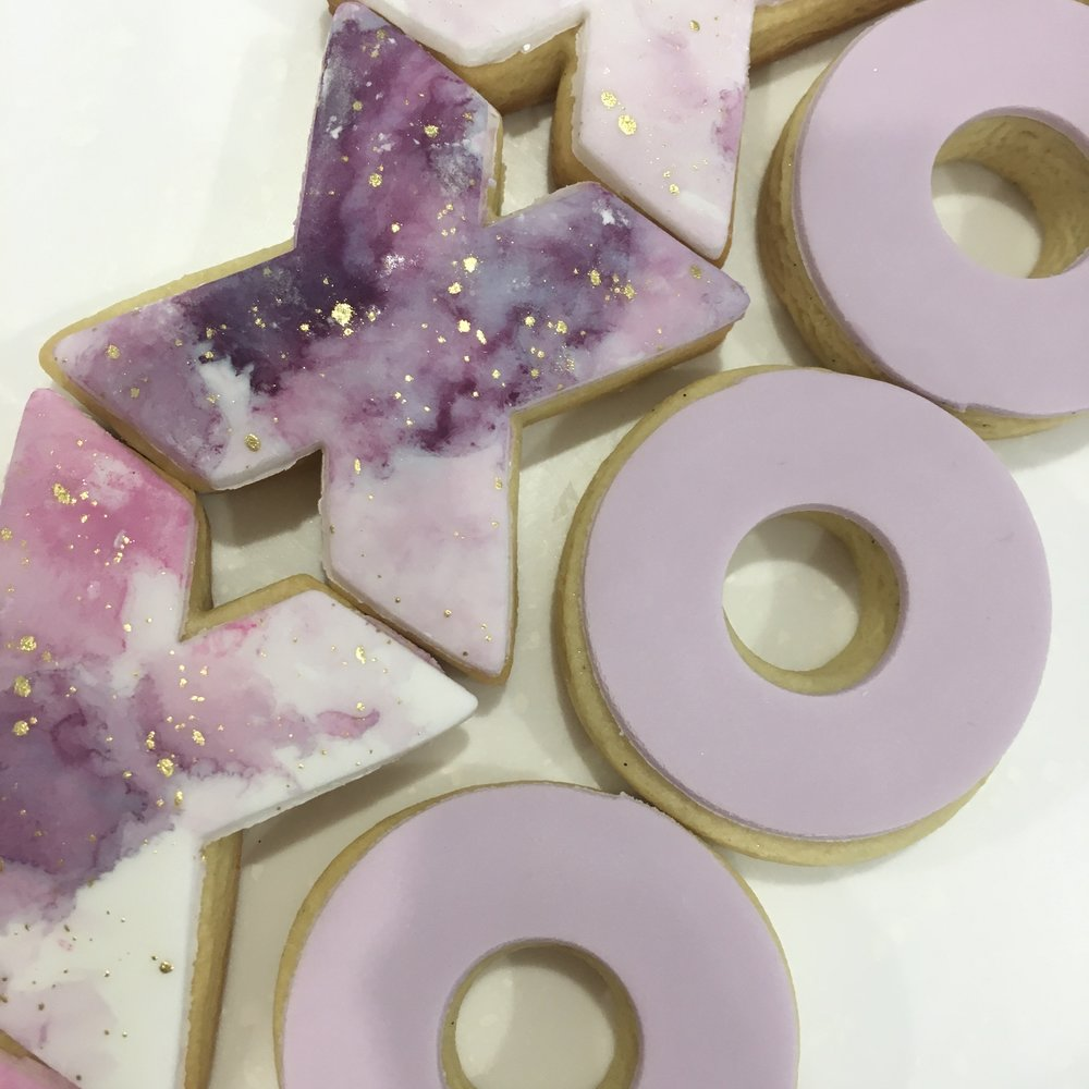 Watercolour and Gold Leaf Cookies