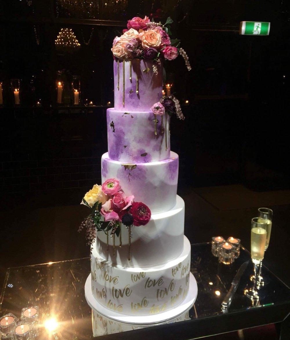 Purple Watercolour Wedding Cake