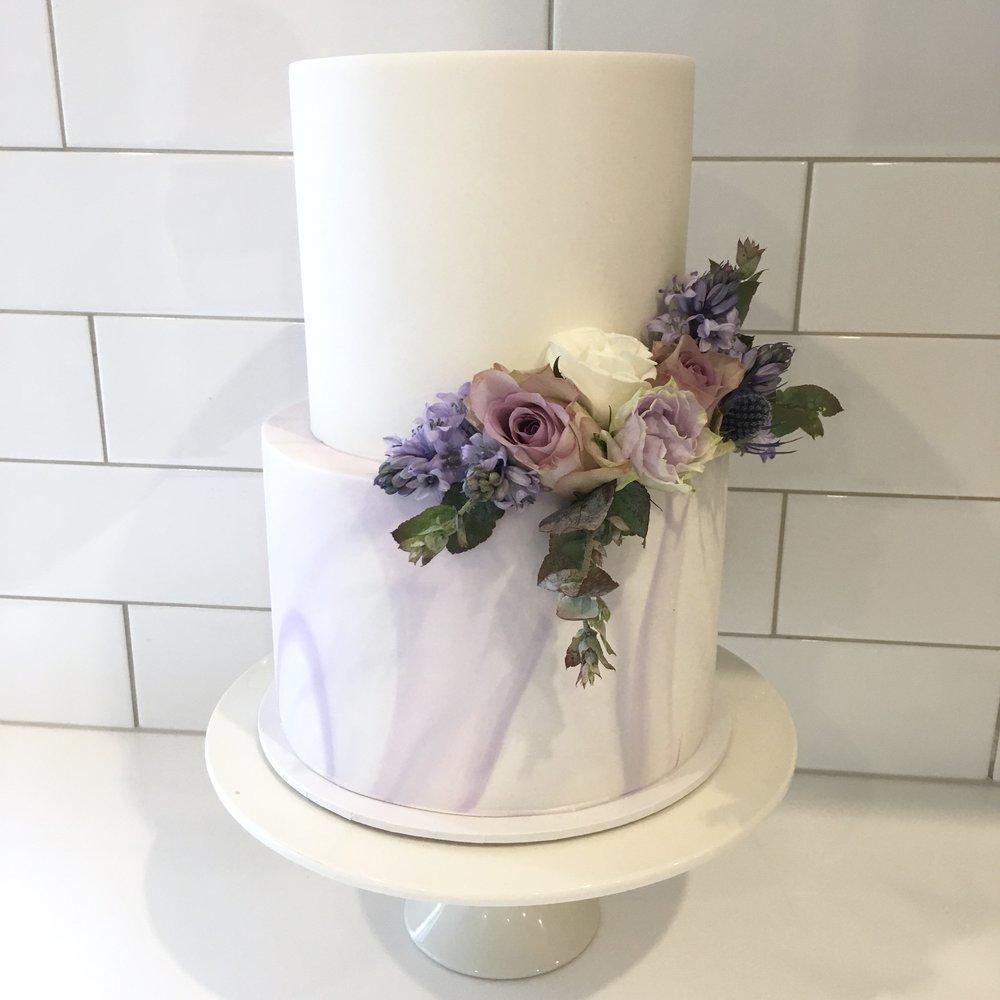 Purple Marble Fondant Cake
