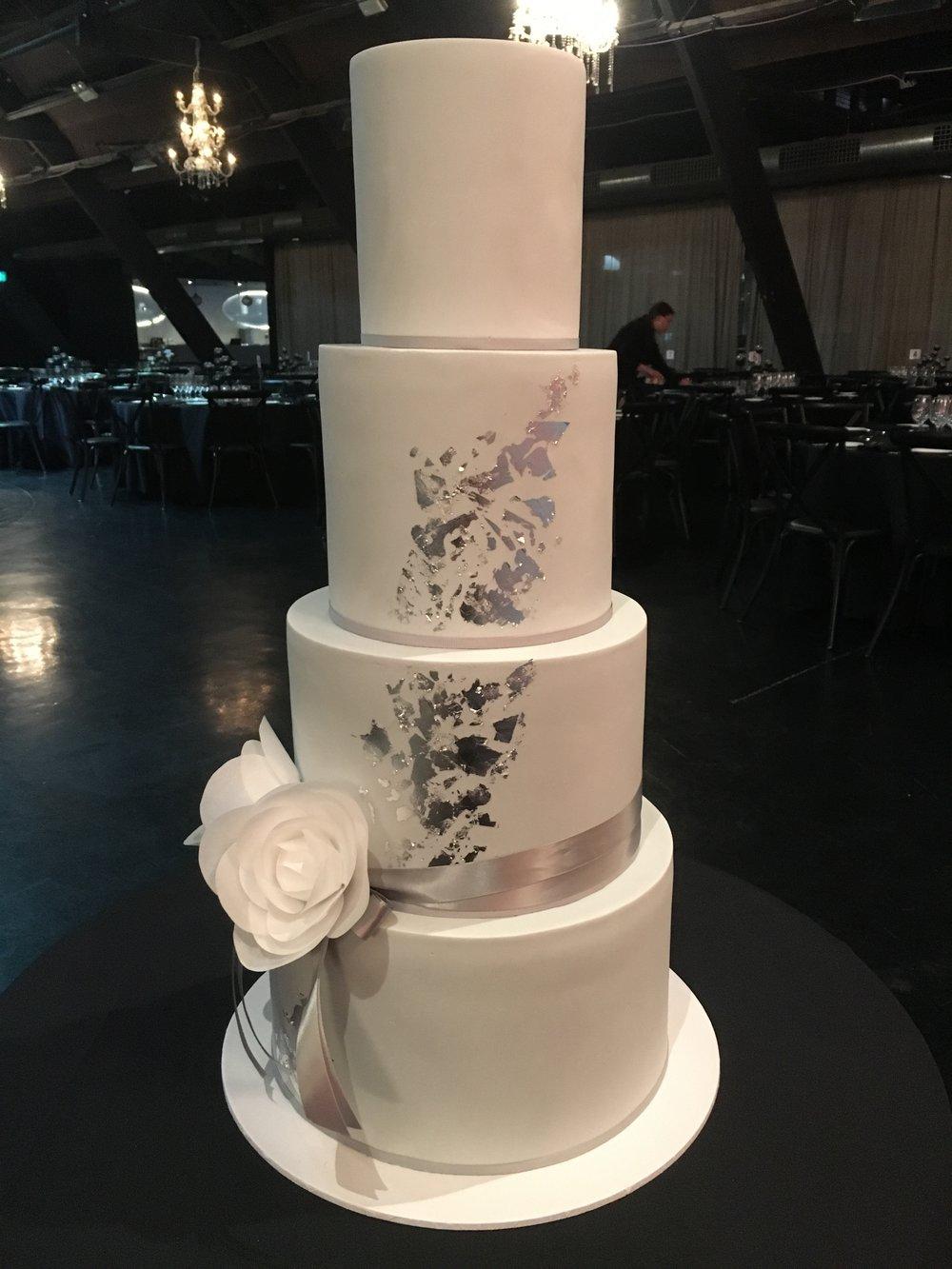 Copy of Wedding Cake with Silver Leaf