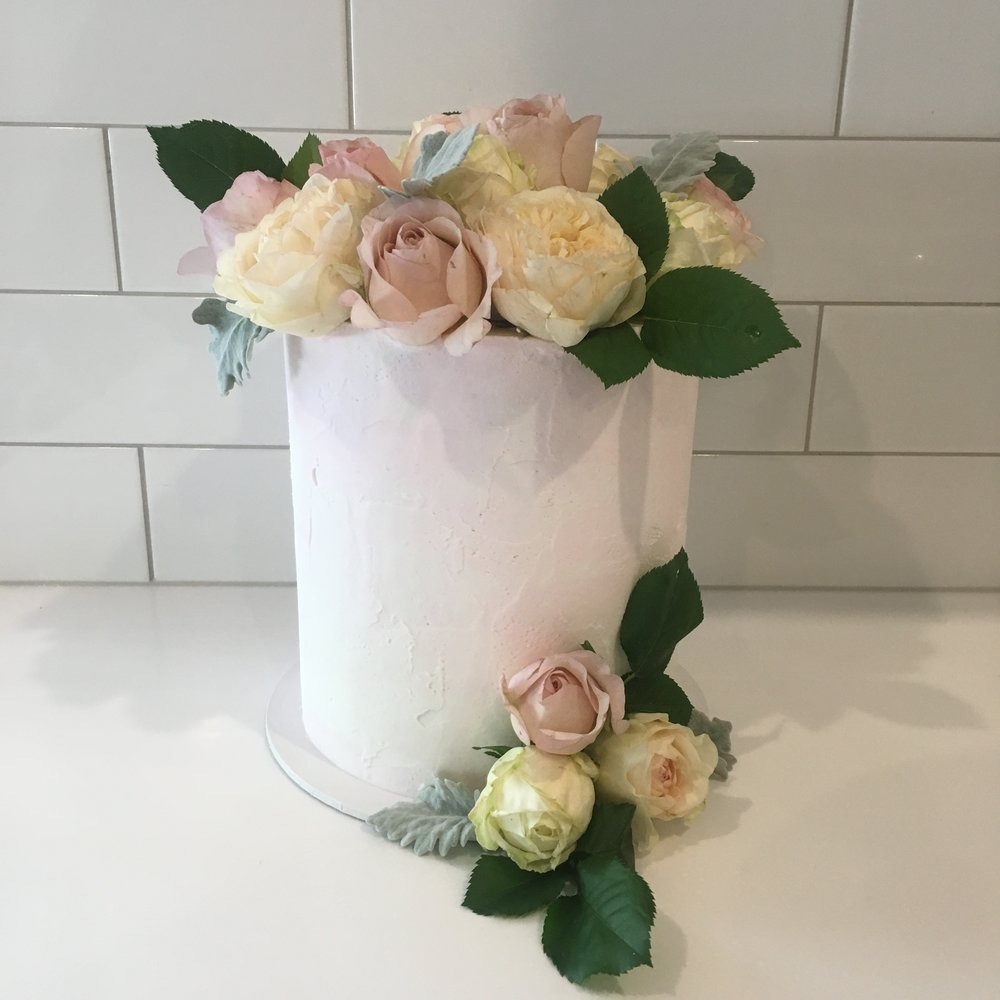 Pink Buttercream Wedding Cake