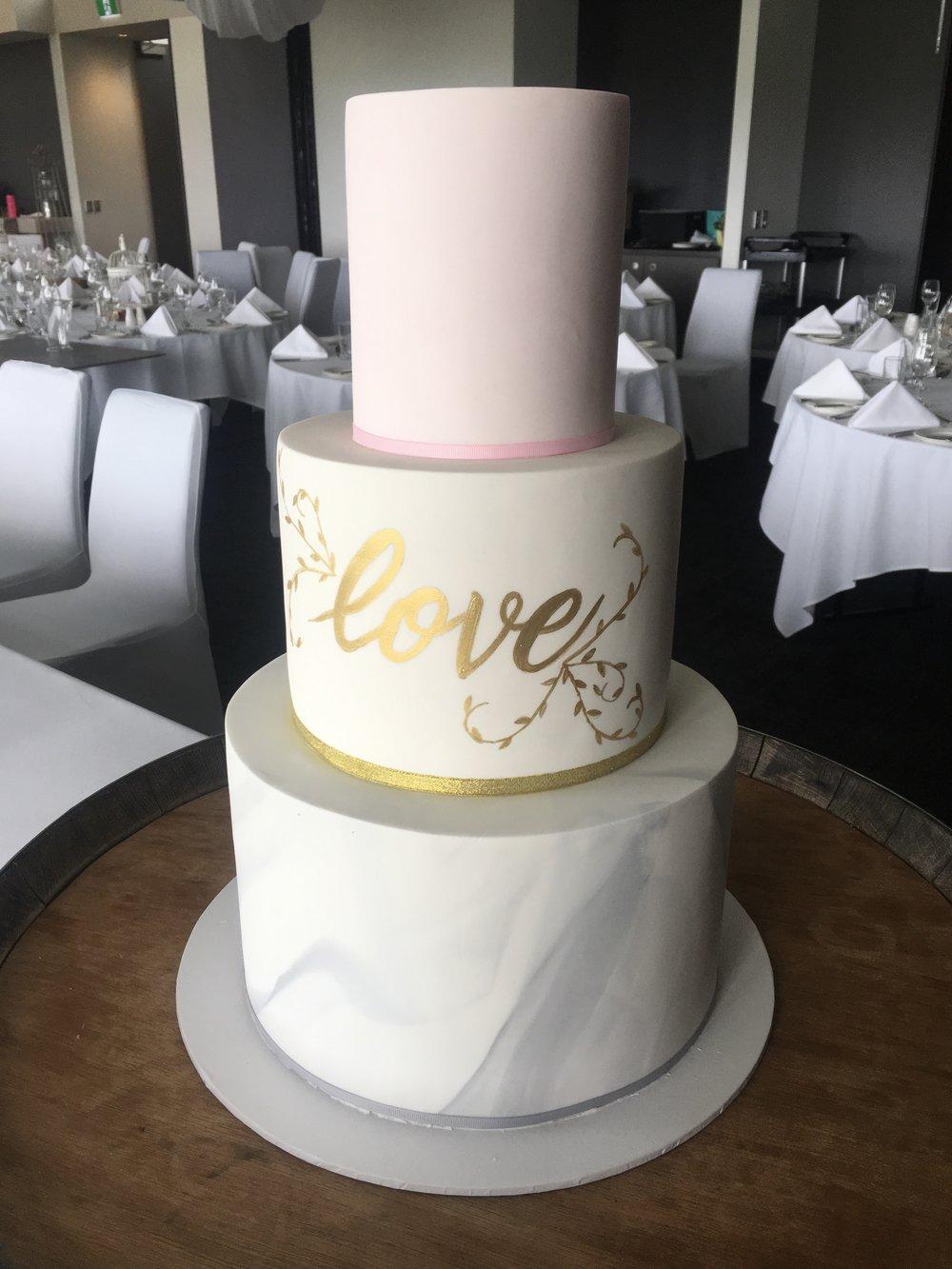 Marble Fondant 'Love' Cake
