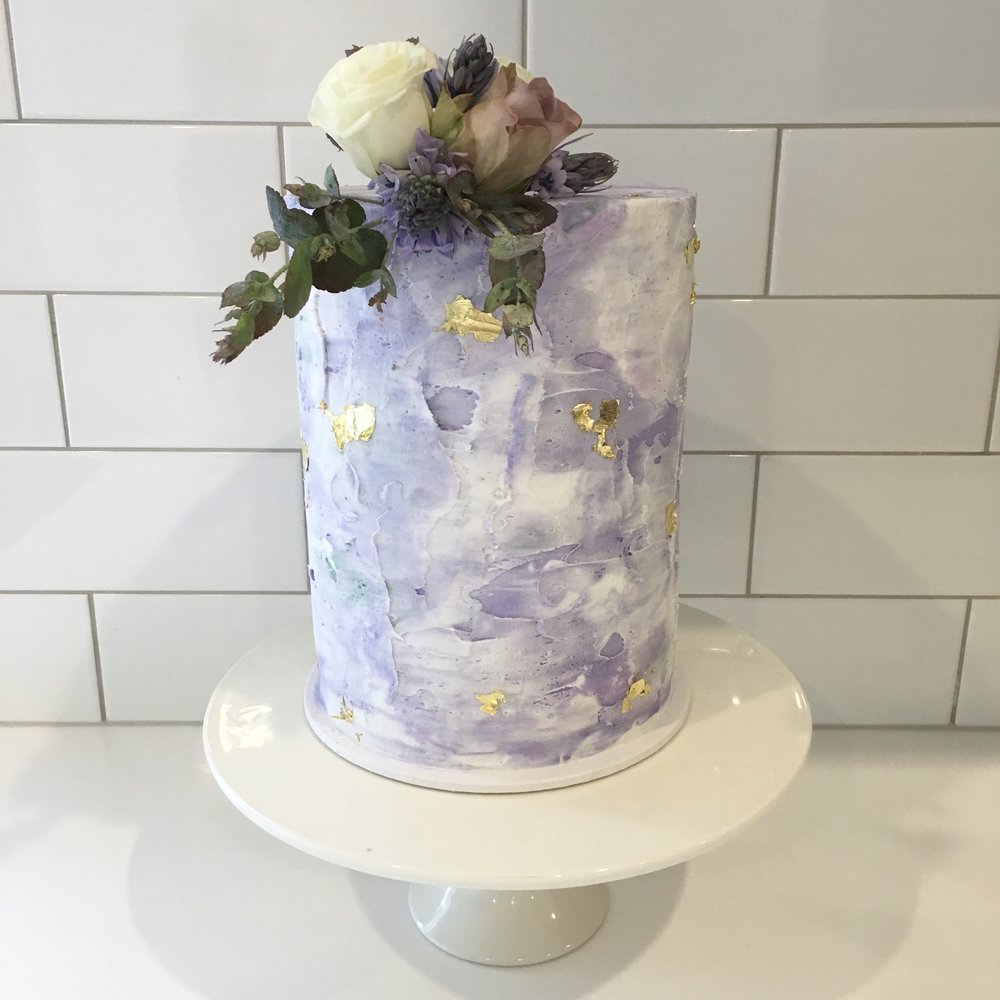 Purple Buttercream Wedding Cake