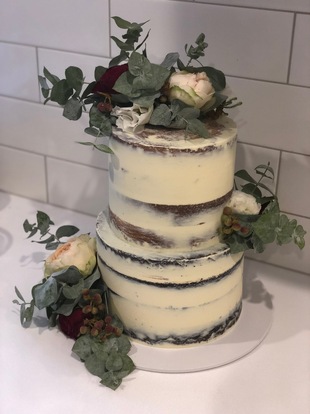 Naked Cake with Flowers and Foliage
