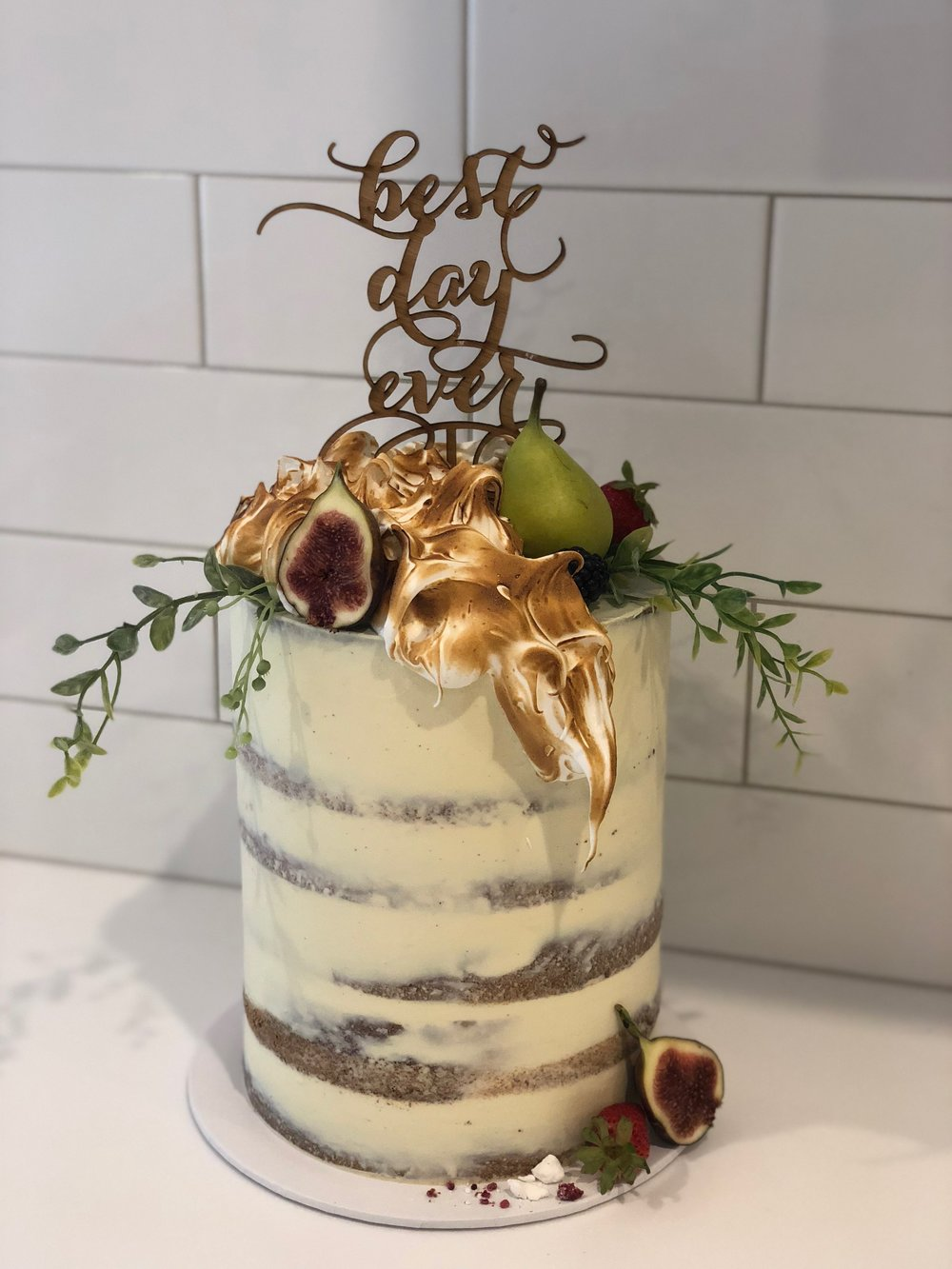 Naked Wedding Cake with Scorched Meringue