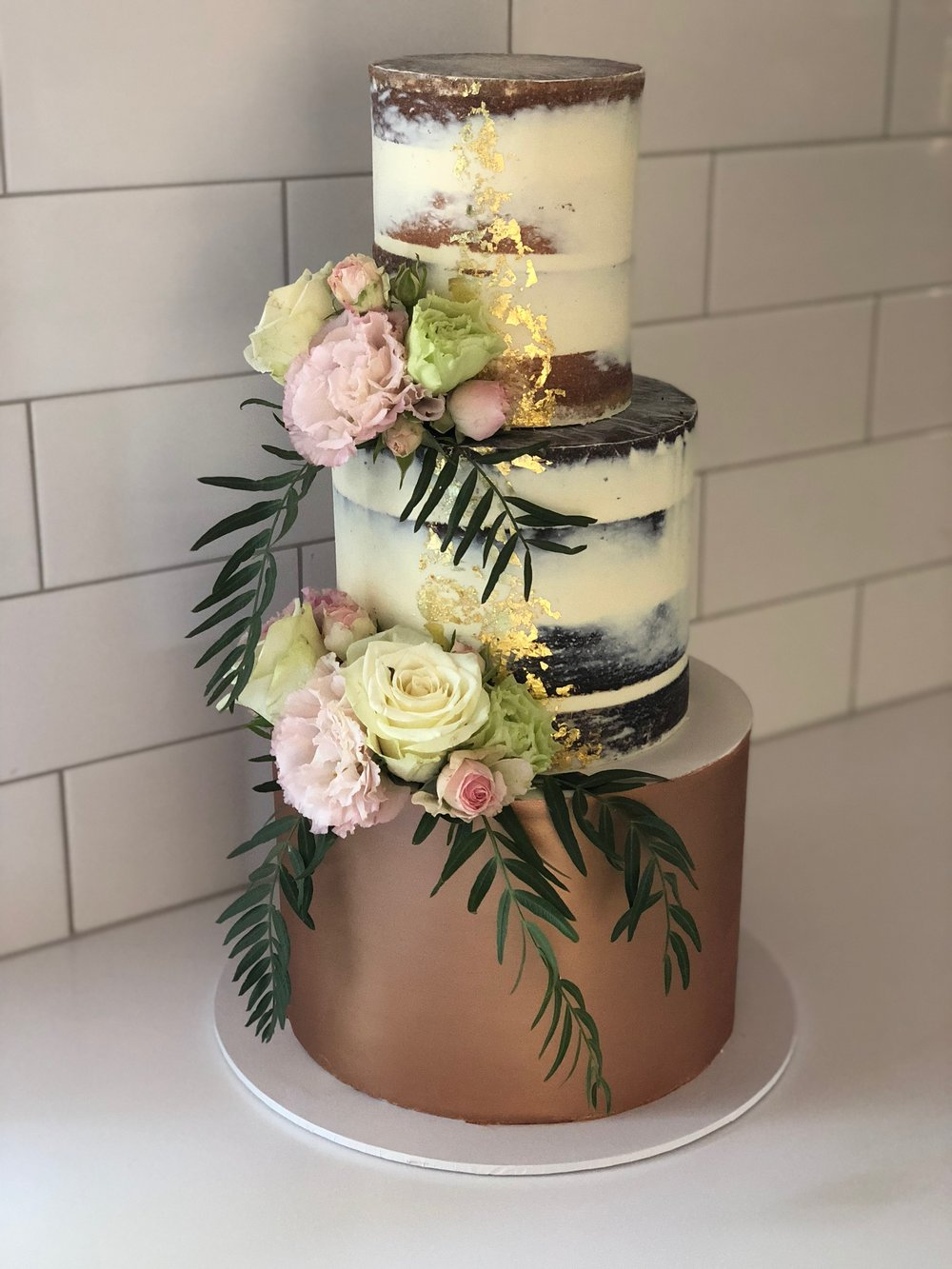 Naked Wedding Cake with Copper Tier