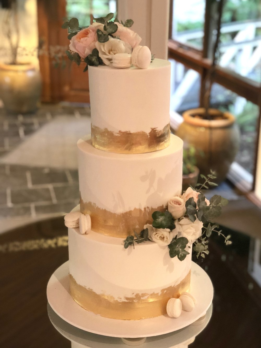 Wedding Cake with Gold Leaf