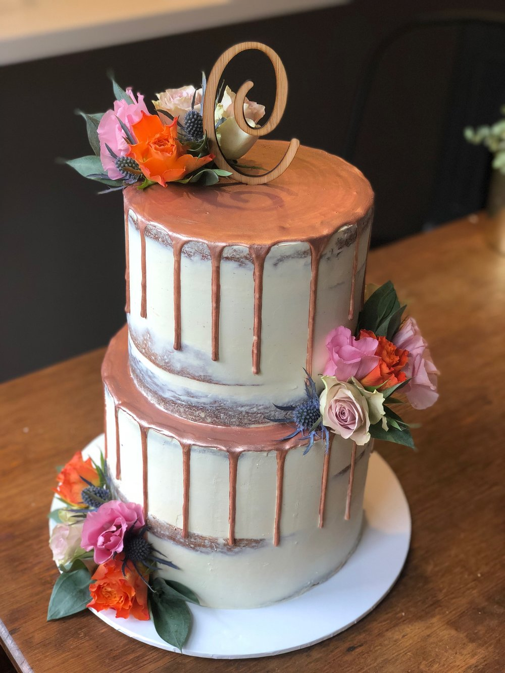 Naked Cake with Copper Drip