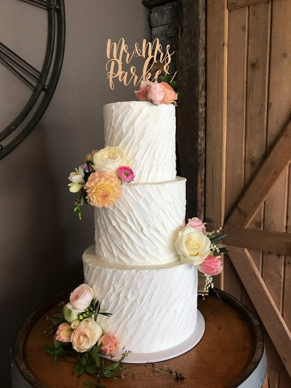 3 Tier Buttercream Wedding Cake Creme De La Cakes