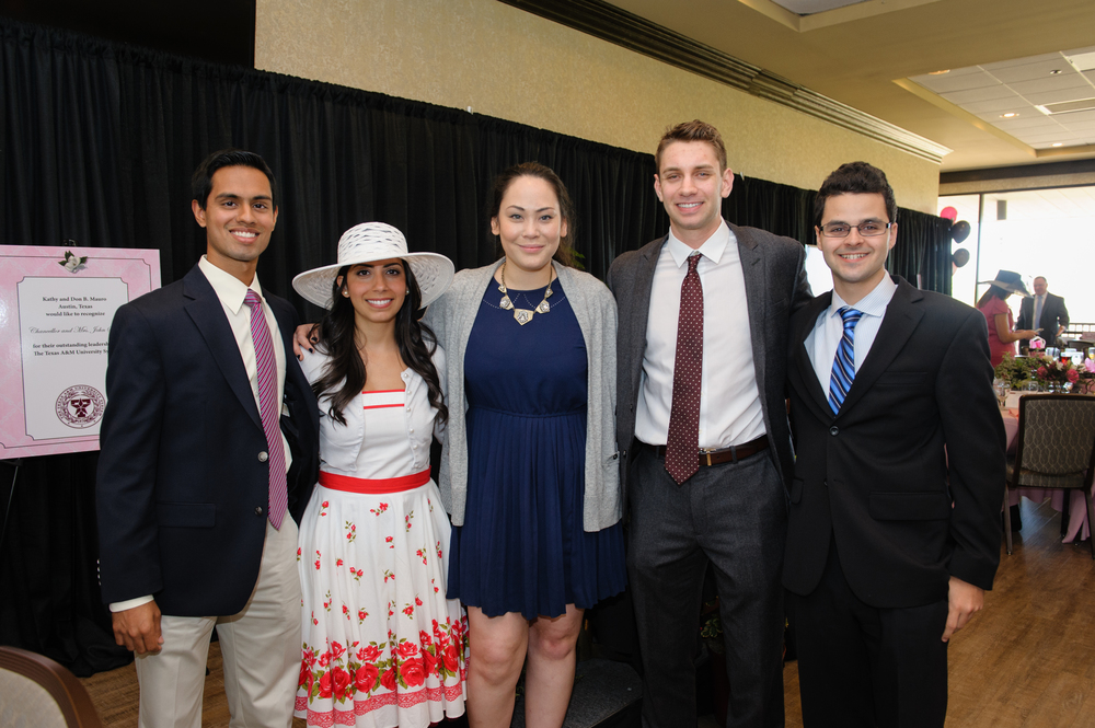 The Magnolia Tea Scholarship Winners (Left to Right): Cullen Soares (M1), Satareh Mohammadie (M3), Kimberly DeAtley (M1), Eric Ruff (M1), Kent-Andrew Boucher (M1)