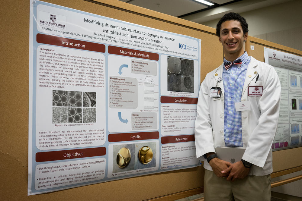 Bahrom Firozgary (M2) spent 10 weeks doing research with the Institute of Orthopedic Research and Education (IORE) at Methodist Hospital in Houston. His project focused on the relationship between osteoblast growth and titanium micro-surface topography, in effect simulating bone growth on full-hip, titanium implants.