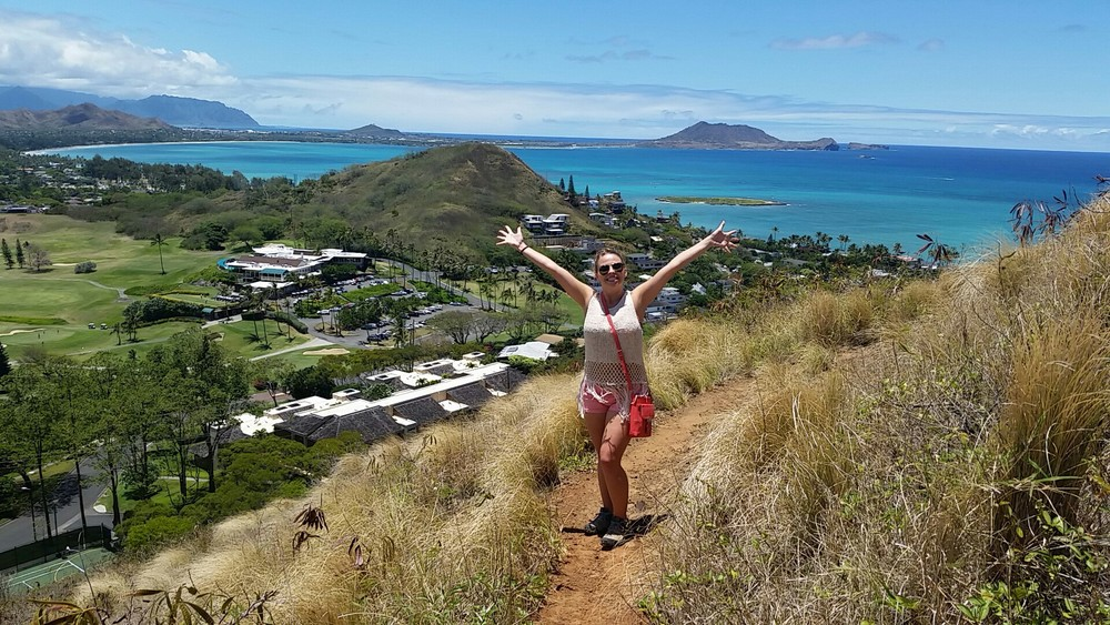 Cara Gray (M2) traveled around the US this summer. This is her over Linikai Beach during the Pillbox hike.
