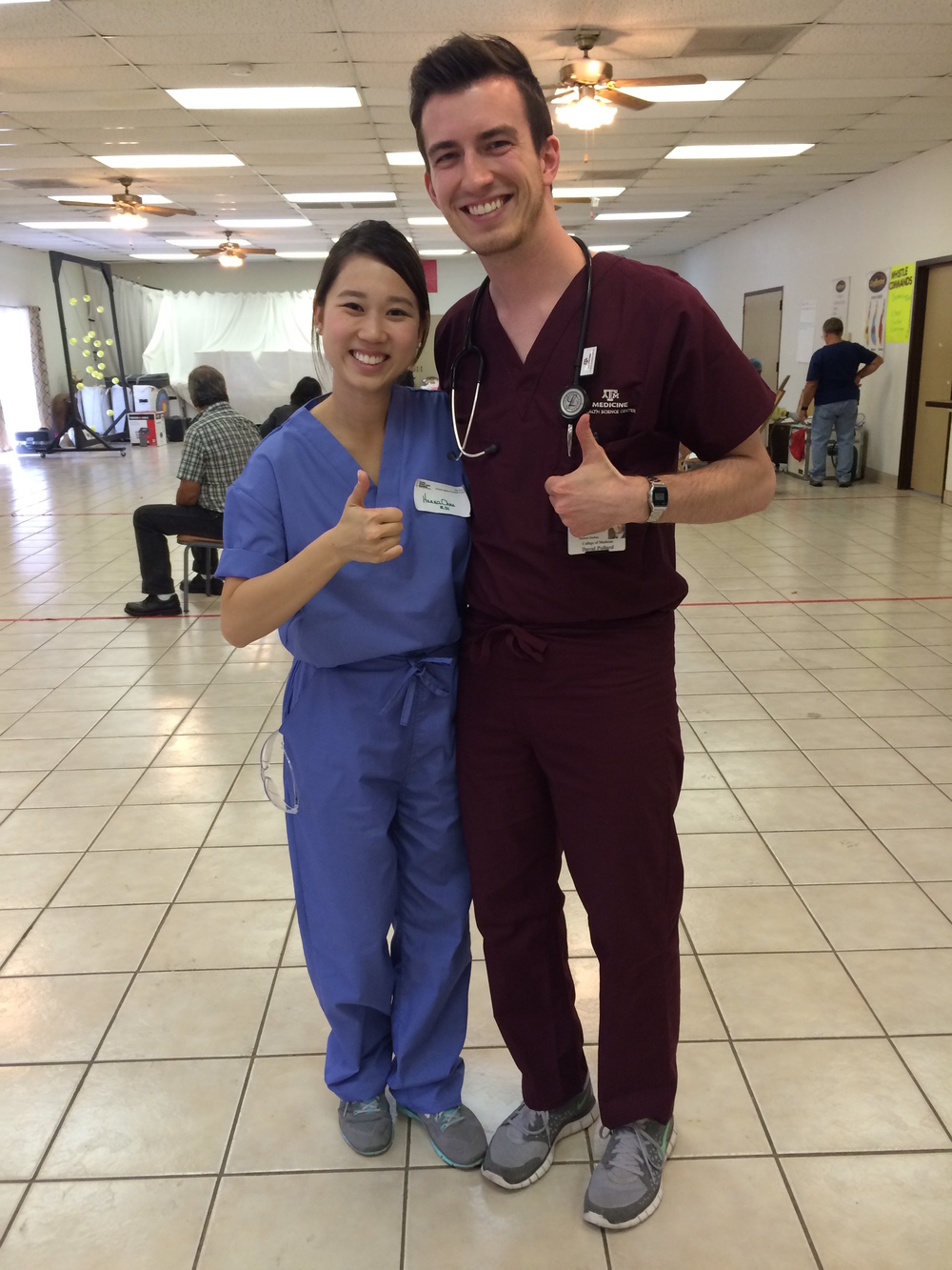 Hanna Chen (M1) and David Pollard (M2) show their Aggie pride in Del Rio, Texas.