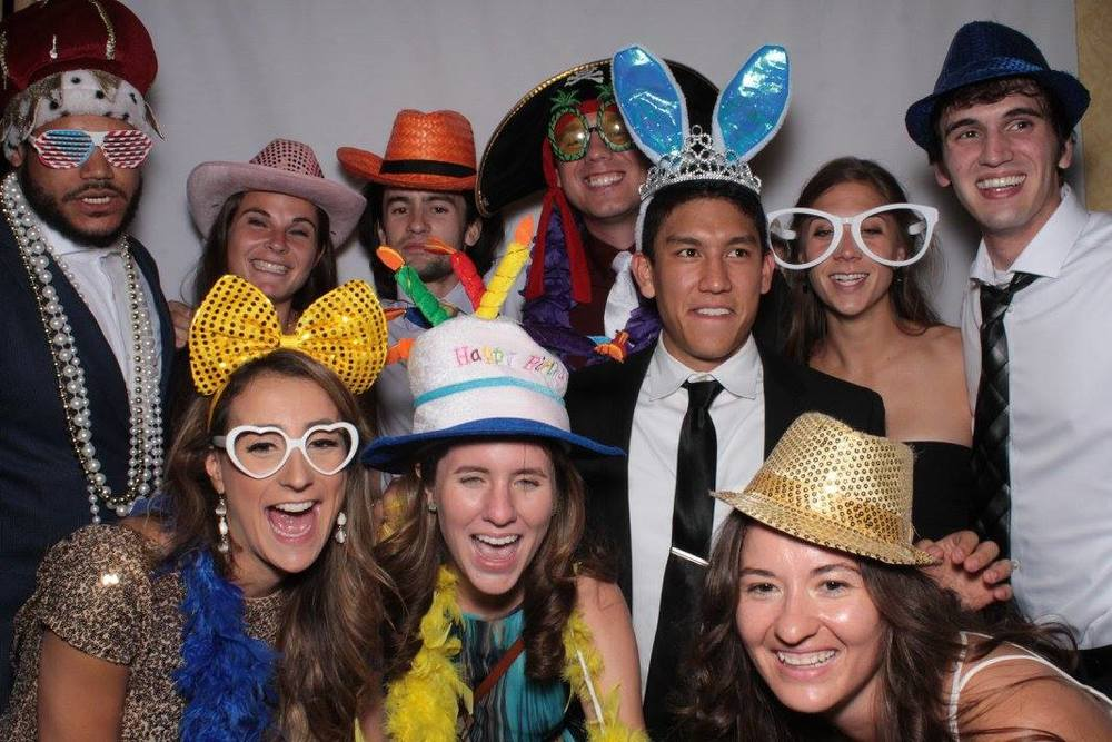 First-year medical students and guests at the Cadaver Ball photo booth.