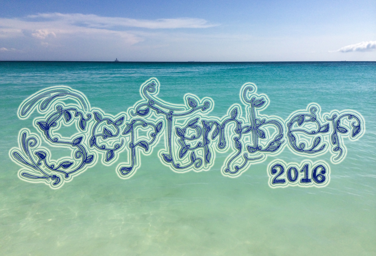 Photo of the Caribbean Sea and lettering design by Tiffany Chan (M2)