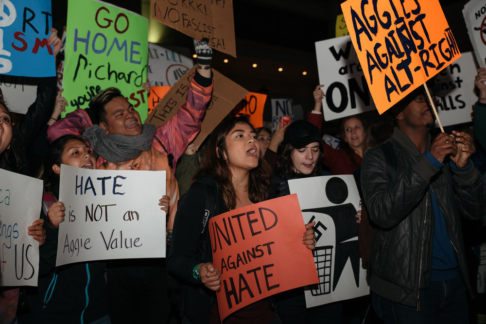 Texas A&M University students attending an on-campus protest on December 6, 2016. Photo by Cody Cobb, M3.