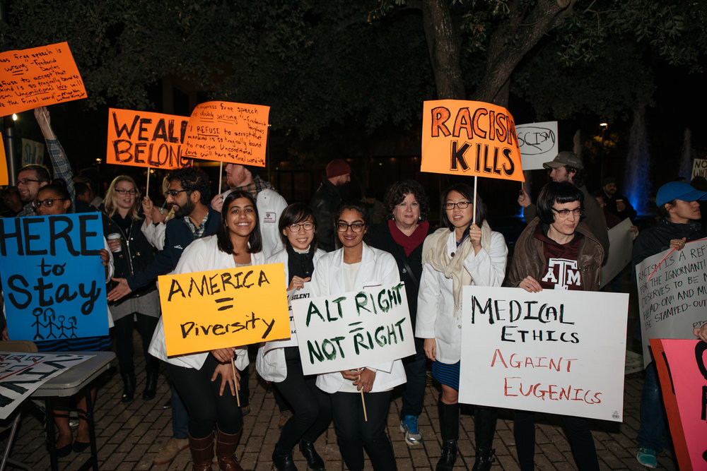 Texas A&M College of Medicine students and faculty attending on campus protest on Dec 6, 2016. Photo by Cody Cobb, M3.