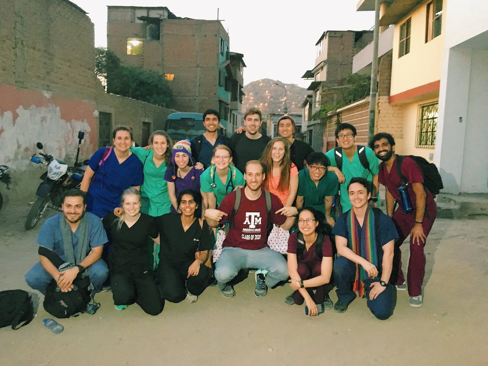 Texas A&M medical students attending a medical mission trip in Peru. Photo provided by Haseeb Khatri, M1.