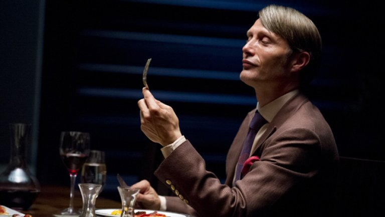 Mads Mikkelsen as the titular character in a promotional shoot for NBC's  Hannibal