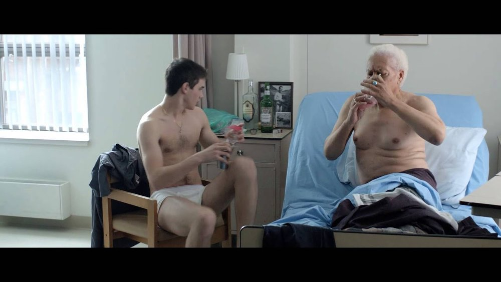 Lake (Pier-Gabriel Lajoie) and his older lover Melvyn (Walter Borden) in Bruce LaBruce's  Gerontophilia  (2013).