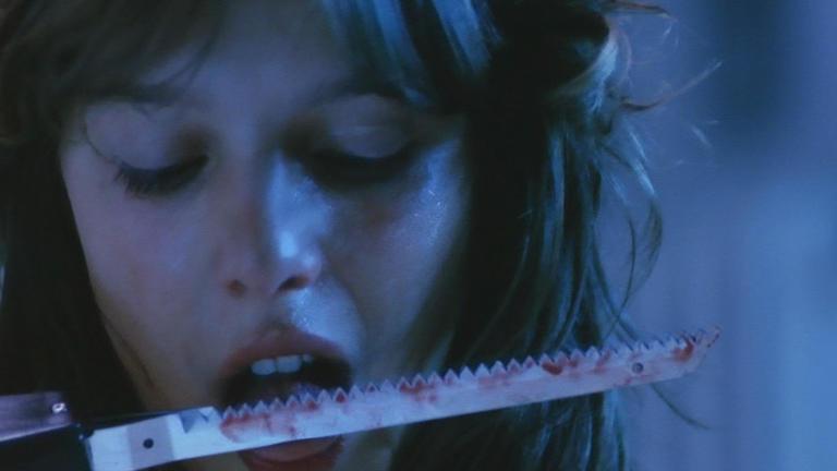 Simone (Désirée Nosbusch) tasting the fruits of her labor in Eckhart Schmidt's DER FAN (1982).