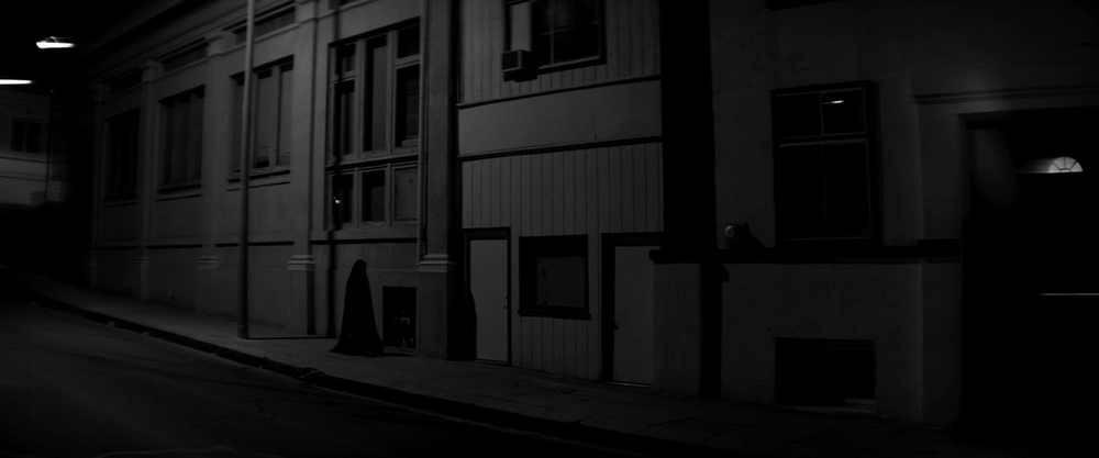 The Girl (Sheila Vand), out for a night stroll in Ana Lily Amirpour's  A Girl Walks Home Alone at Night  (2014).