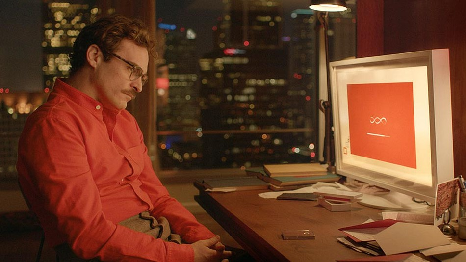 Theodore Twombly (Joaquin Phoenix) and his A.I. companion, Samantha (Scarlett Johansson) in  Her  (2013).