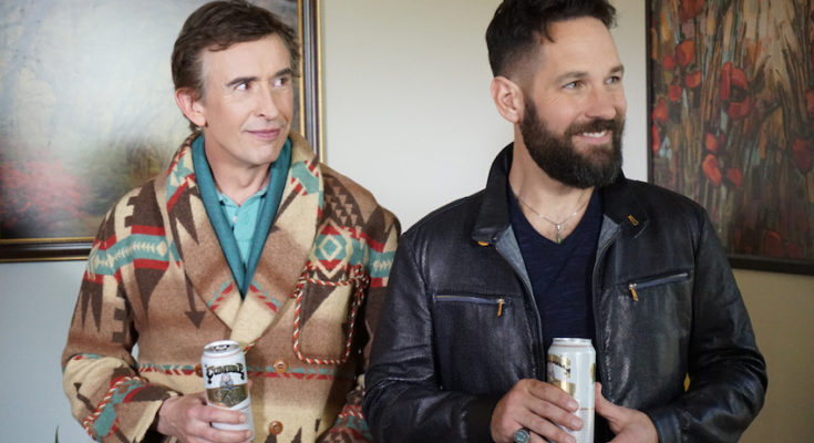 Power couple celebrity chef Erasmus (Steve Coogan) and his TV producer lover Paul (Paul Rudd) in  Ideal Home  (2018).