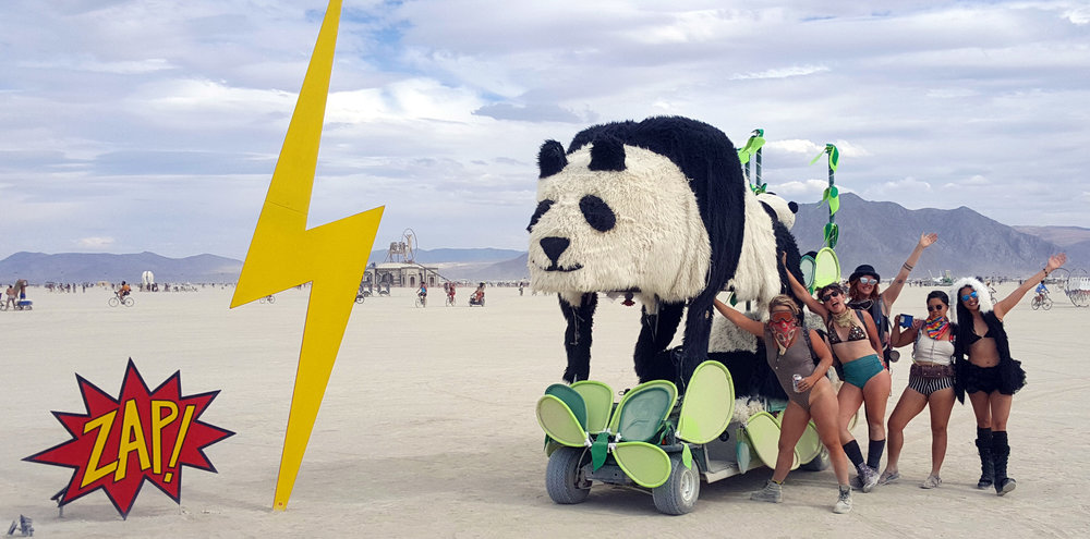 Come find us cruising around the city. We are more than happy to take you for a ride. One of the reasons that we bring Derpy to the playa is that it allows us to interact with so many people. It is amazing to see all of the smiles and joy a big 12 foot panda can bring to people.