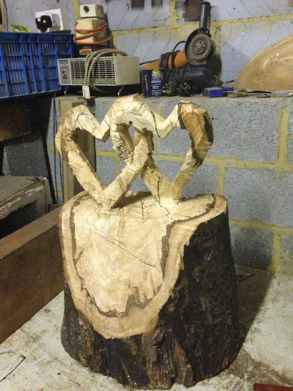 Chainsaw carved interlocking hearts in Beech - SOLD £30.00
