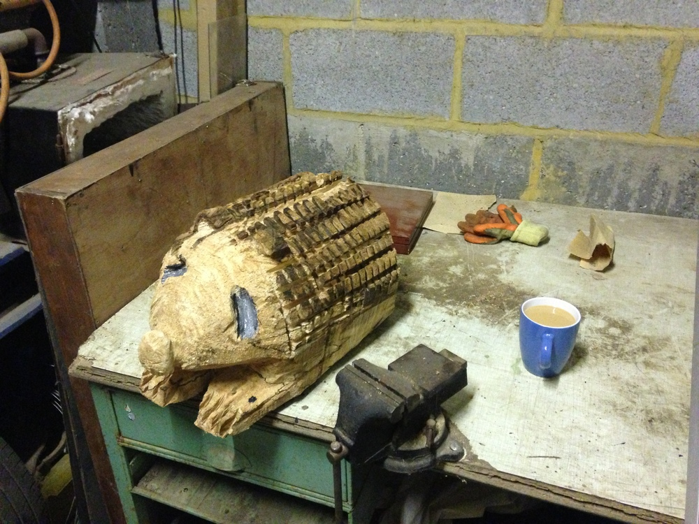 Chainsaw carved hedgehog in Beech- SOLD £15.00