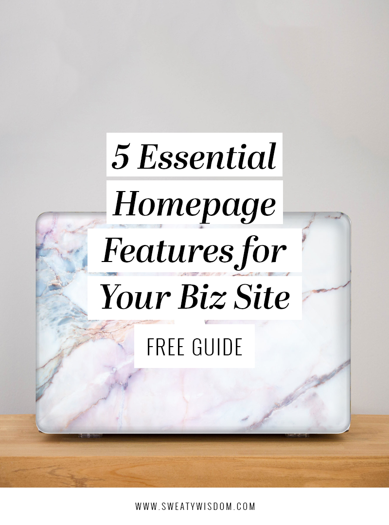 5 Essential Homepage Features for your Biz Site and a FREE Guide - sweatywisdom.com