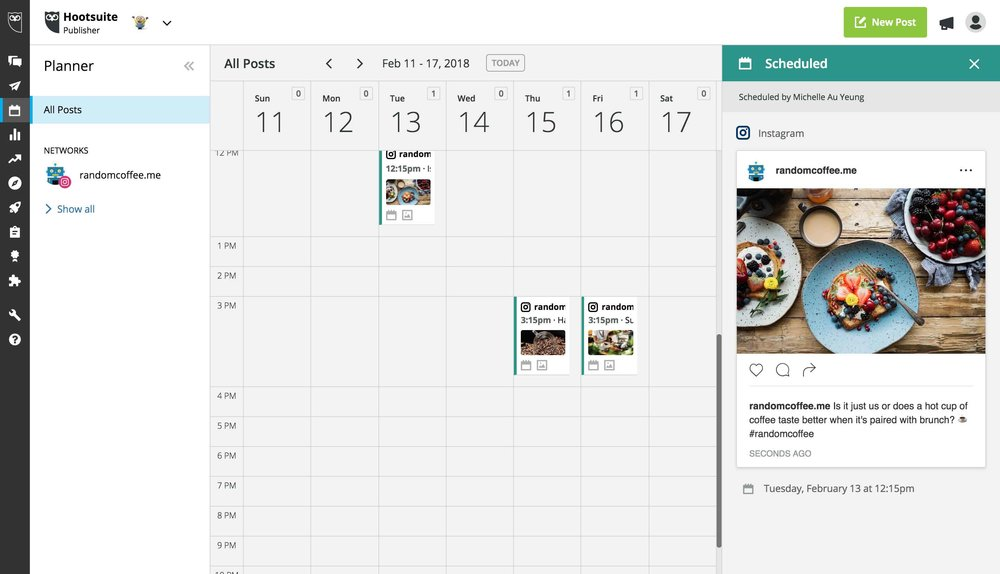 Instagram Scheduler in Hootsuite