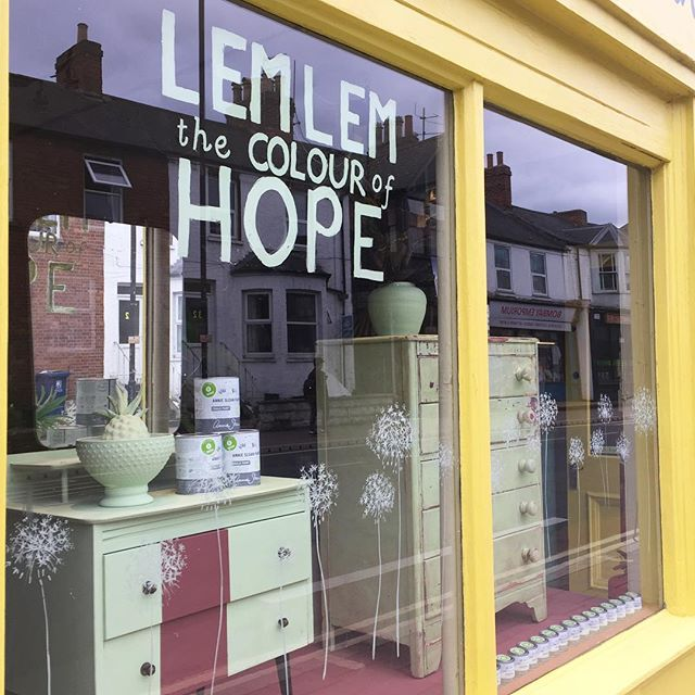 Excited for the launch of Lem Lem, the newest @chalkpaint to be added to the palette. We're open 10-7pm this Thursday with delicious Ethiopian food and coffee and a chance to use the beautiful colour itself! #anniesloan #anniesloanandoxfam #windowdisplay #ox4 #oxford #oxfordevents