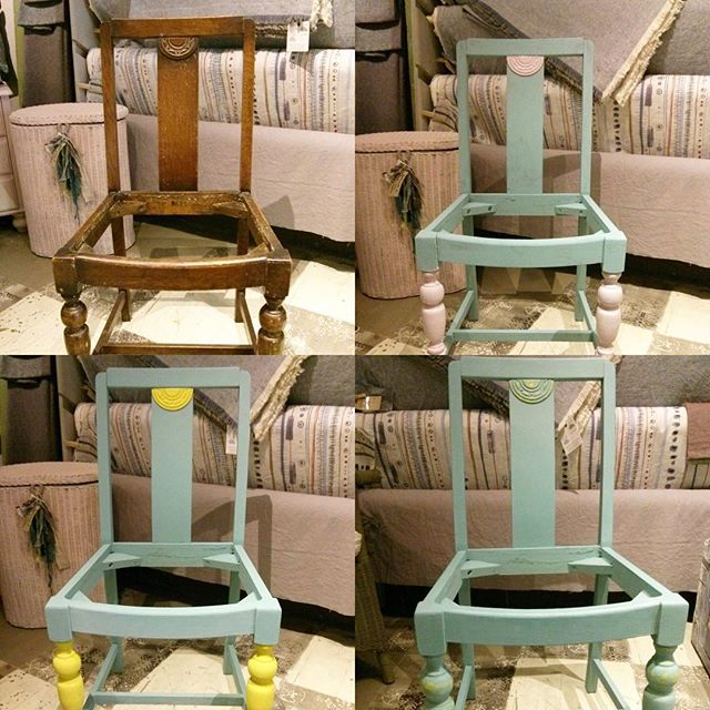 One of our latest projects at the shop, painting and re upholstering these drop in seat chairs with some of Annie's new fabric, looking forward to showing you the finished piece! #anniesloanchalkpaint #chair #anniesloanfabric #chairproject