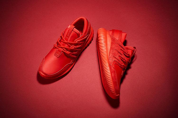 Adidas Tubular Radial Red On Feet