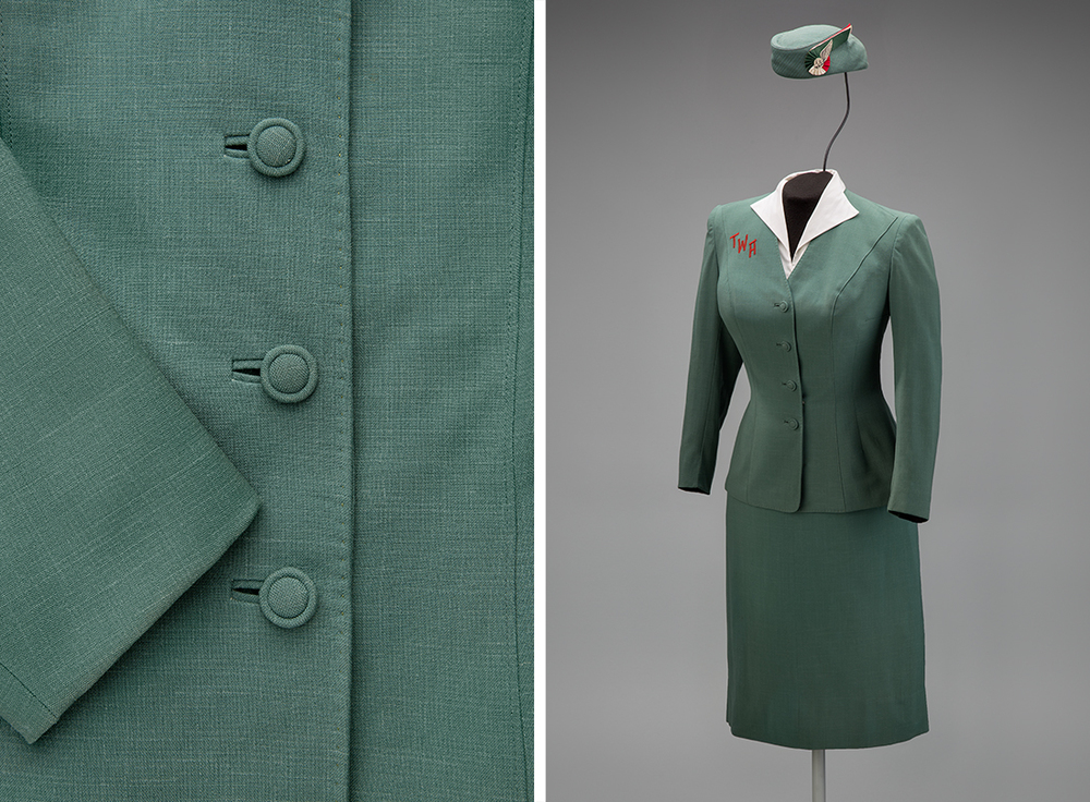 Trans World Airlines hostess uniform by Oleg Cassini 1955