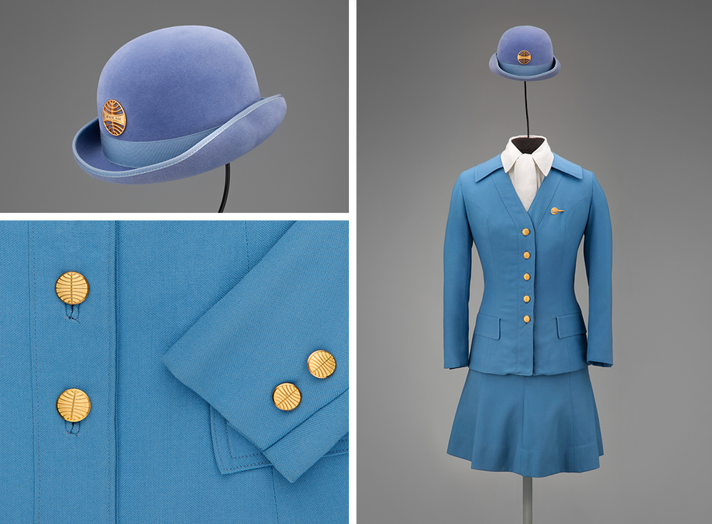 Pan American World Airways stewardess uniform by Frank Smith for Evan-Picone 1971