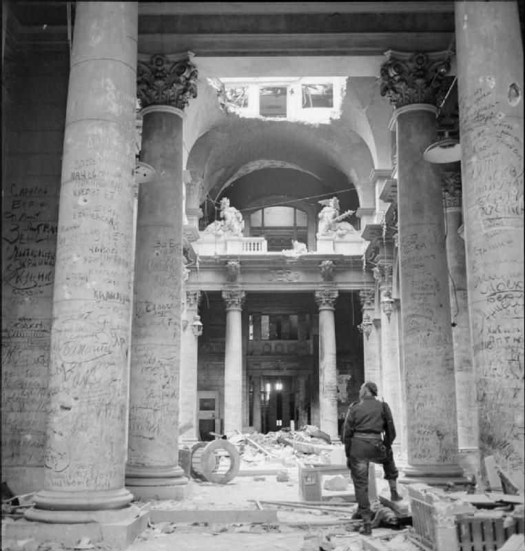 Soviet Army graffiti in the ruins of the Reichstag in Berlin (1945). By W.wolny.