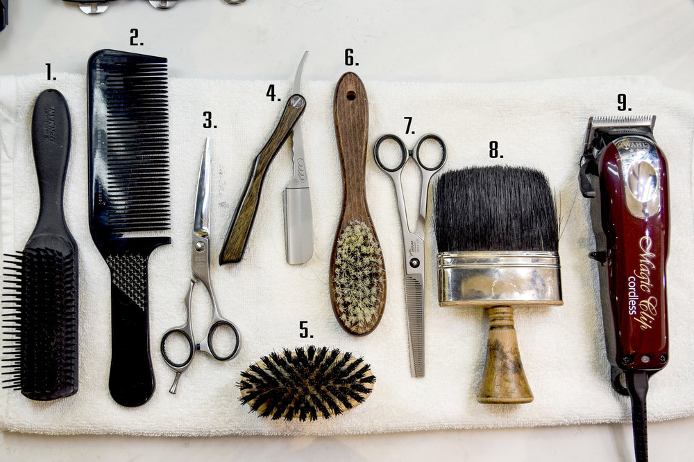 This is certainly not all the tools a barber uses, but it is a common mix. A barbers tool set is a personal collection sometimes collected over years. Photo by Travis Hatridge © 2017 whatsgood.