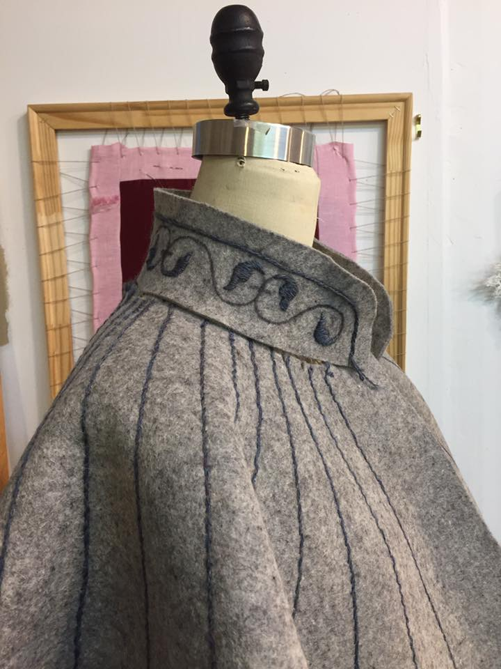 Side view of collar in progress